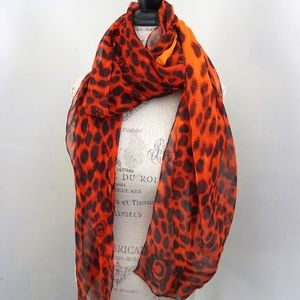 Alexander McQueen Silk Scarf Black Red Orange